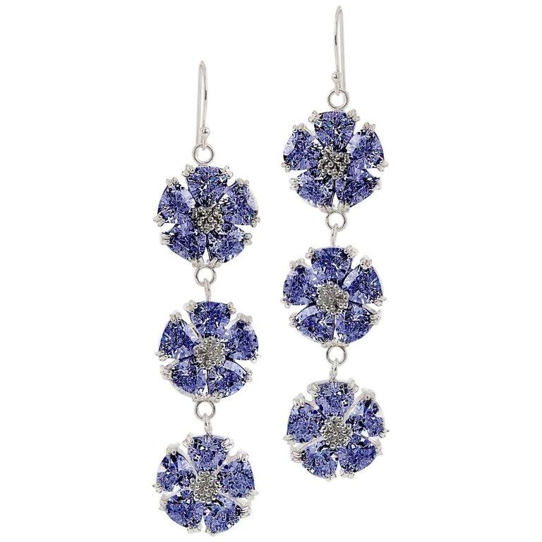 .925 Sterling Silver 30 x 7 mm Dark Blue Sapphire Triple Blossom Bling Earrings