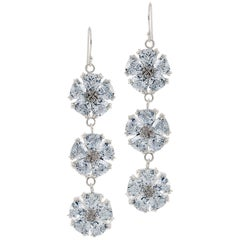 Light Blue Sapphire Triple Blossom Bling Earrings
