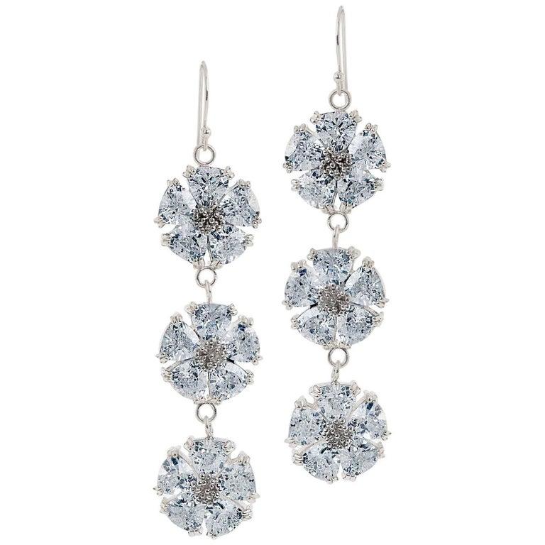 .925 Sterling Silver 30 x 7 mm Light Blue Sapphire Triple Blossom Bling Earrings