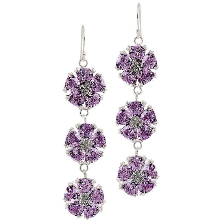 .925 Sterling Silver 30 x 7 mm Amethyst Triple Blossom Bling Earrings