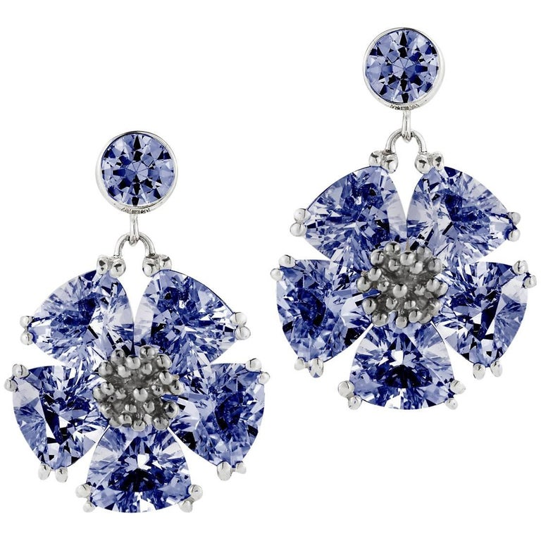 Dark Blue Shire Single Blossom Drop Earrings For