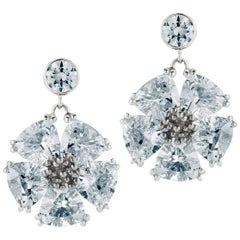 Light Blue Sapphire Single Blossom Drop Earrings