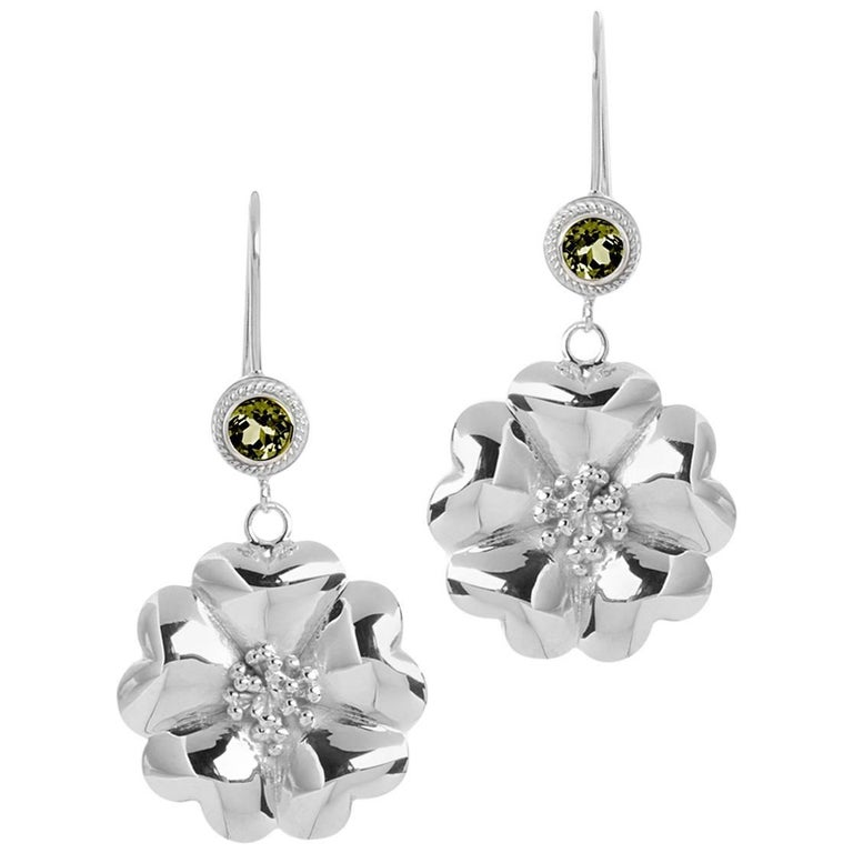 .925 Sterling Silver 2 x 5 mm Olive Peridot Blossom Wire Hook Earrings