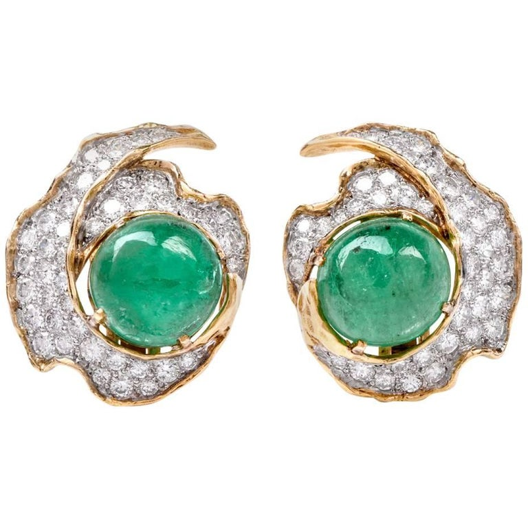 1960s Emerald Cabochon Diamond 18 Karat Gold Clip-On Earrings