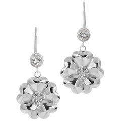 .925 Sterling Silver 2 x 5 mm White Sapphire Blossom Wire Hook Earrings