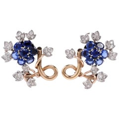 1950s Sapphire Diamond 18 Karat Gold Floral Motif Clip-On Earrings