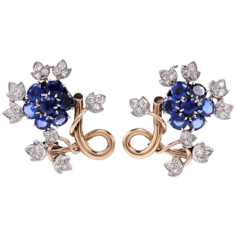 1950s Sapphire Diamond 18 Karat Gold Floral Motif Clip-On Earrings