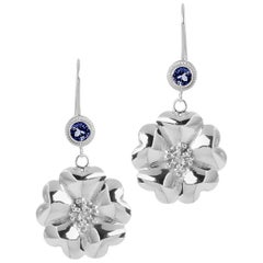 Dark Blue Sapphire Blossom Wire Hook Earrings