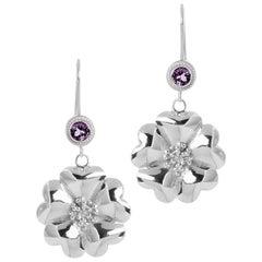 Amethyst Blossom Wire Hook Earrings