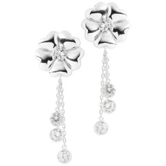 White Sapphire Blossom Graduated Drop Earrings