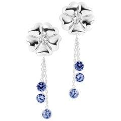 Dark Blue Sapphire Blossom Graduated Drop Earrings