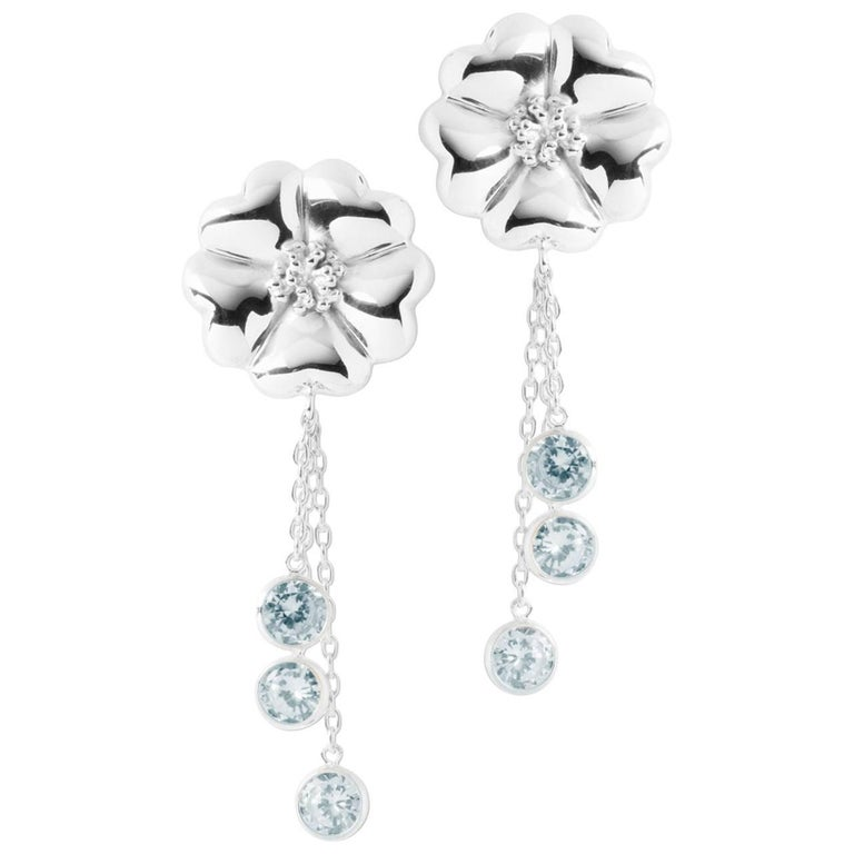 .925 Sterling Silver Light Blue Sapphire Blossom Graduated Drop Earrings