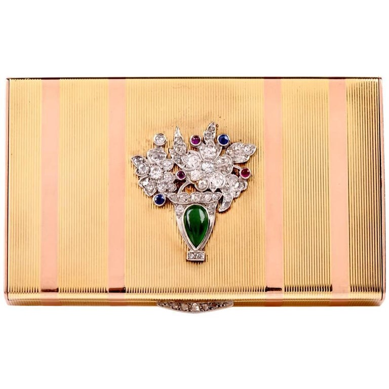 Art Deco Gold Platinum Diamond Compact Box