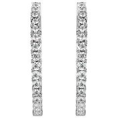 Mark Broumand 2.00ct Round Brilliant Cut Diamond Hoop Earrings in 14k White Gold