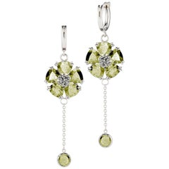 .925 Sterling Silver 2 x 6 mm Olive Peridot Blossom Small Hoop Earrings
