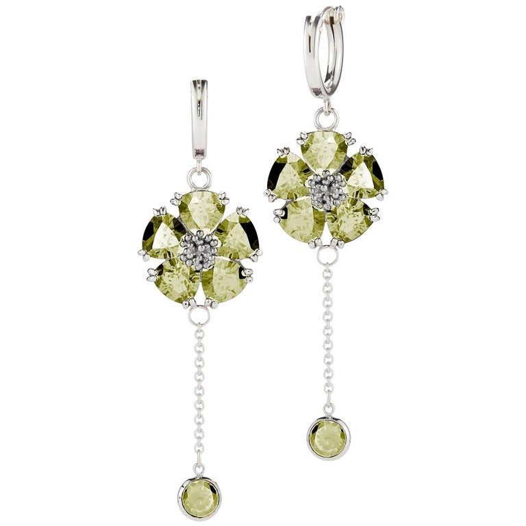 .925 Sterling Silver 2 x 6 mm Olive Peridot Blossom Small Hoop Earrings For Sale