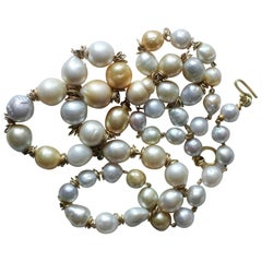 South Sea Pearls 18K Gold Necklace, White and Golden Baroque Pearls in stock