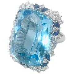 59 Carat Aquamarine Cushion Cut with Diamonds and Sapphires Cocktail Ring