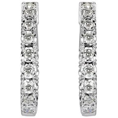 Mark Broumand 1.50Ct Round Brilliant Cut Diamond Hoop Earrings in 14K White Gold