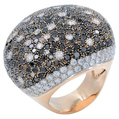 Large Pave White and Black Diamond Yellow Gold Ring, 14 Karat Yellow Gold