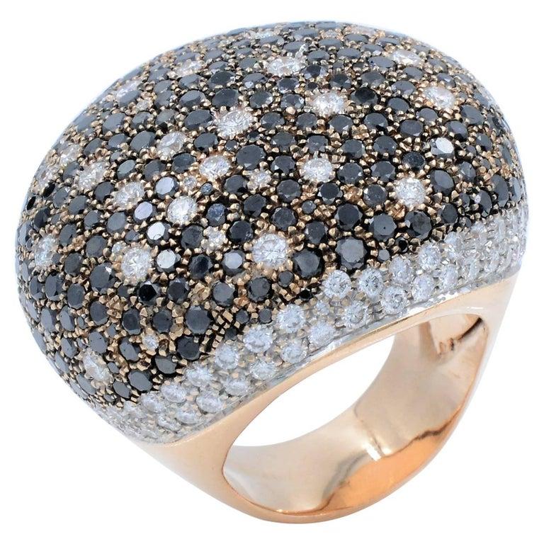 Large Pave White and Black Diamond Yellow Gold Ring, 14 Karat Yellow Gold