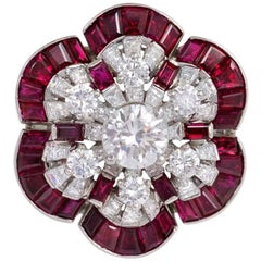 Oscar Heyman 1950s Ruby and Diamond Flower Cocktail Ring