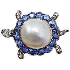 Victorian Montana Sapphire Diamond Pearl Turtle Pin