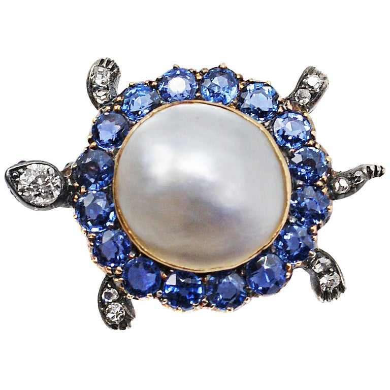 Victorian Montana Sapphire Diamond Pearl Turtle Pin For Sale
