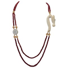 Ruby Beads Jade Disk Ivory Seahorse Diamonds 18 Karat Yellow Gold Necklace