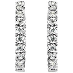 Mark Broumand 1.00ct Round Brilliant Cut Diamond Hoop Earrings in 14k White Gold