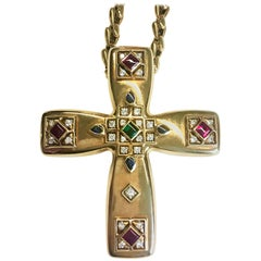 Cartier Multi Gem Byzantine Cross with Yellow Gold Chain Pendent Brooch