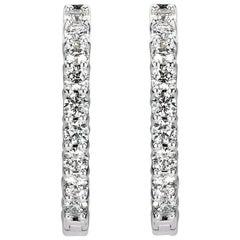 Mark Broumand 2.80ct Round Brilliant Cut Diamond Hoop Earrings in 14k White Gold