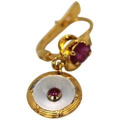 Edwardian Mother-of-Pearl Drop Earrings Ruby Center Ruby Top 18 Karat Gold