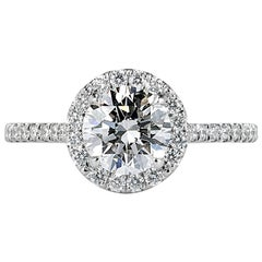 Mark Broumand 1.47 Carat Round Brilliant Cut Diamond Engagement Ring