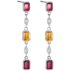 Emerald Cut Ruby Diamond Yellow Sapphire Drop Earrings