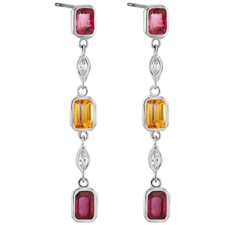 2.20 Carat Ruby Diamond and Yellow Sapphire Drop Earrings