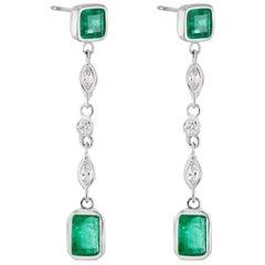2.50  Carat Emerald Diamond Drop Earrings