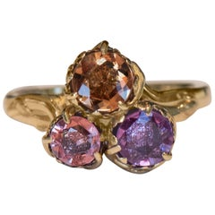 1.90 Carat TW Fancy Sapphire Trio with Amber, Pink and Padparadscha Colors