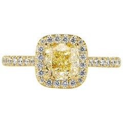 Mark Broumand 1.61 Carat Fancy Light Yellow Cushion Cut Diamond Engagement Ring