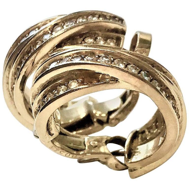 Pair of Cartier Diamond 18 Karat Yellow Gold Trinity Hoop Earrings