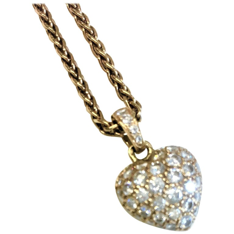 Cartier Yellow Gold Diamond Heart Pendant Necklace