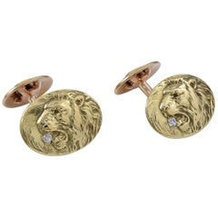 Antique Lion and Lioness Gold and Diamond Cufflinks