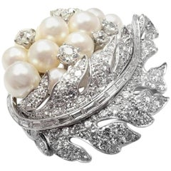 Art Deco 7.5 Carat Diamond Pearl Leaf Platinum Pin Brooch
