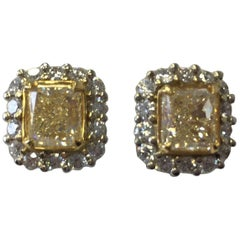 Fancy Yellow Diamond Radiant Earring Studs