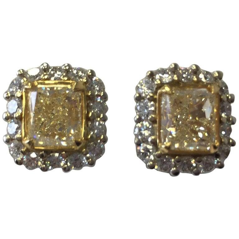 Fancy Yellow Diamond Radiant Earring Studs