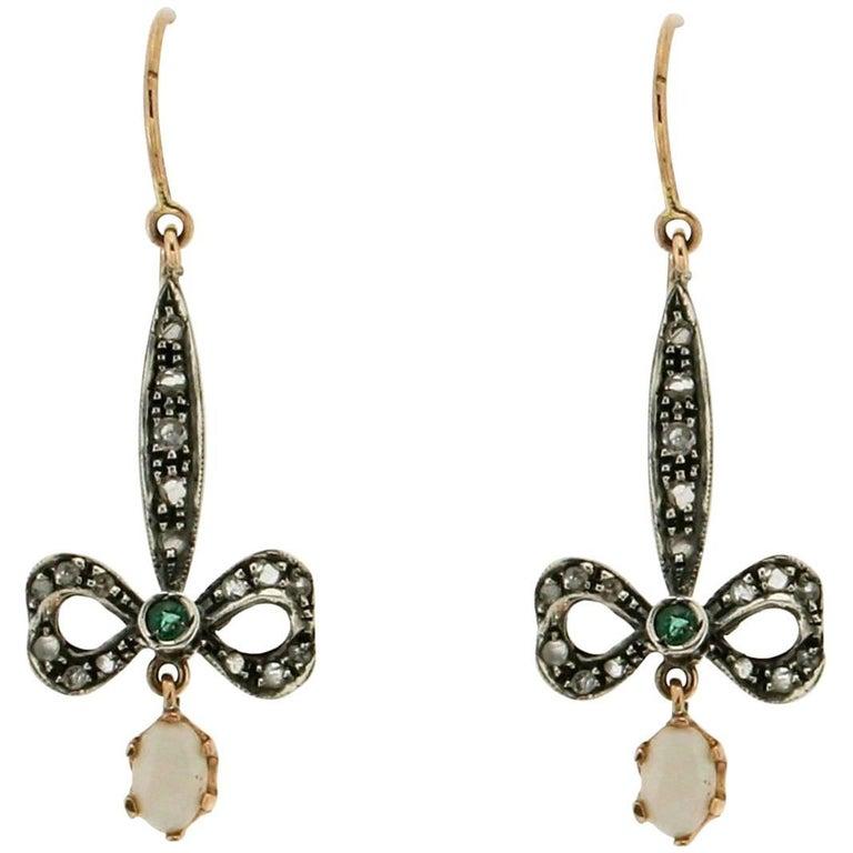 Opal 9 Carat Yellow Gold Old Cut Diamonds Drop Earrings