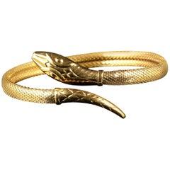 Antique Victorian Snake Bangle 18 Carat Gold Gilt, circa 1900