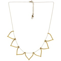 Sterling Silver Gold-Plated Matte Finish Lotus Shaped Motif Greek Chain Necklace