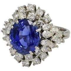Daou Sapphire 9.4ct Diamonds White Gold Halo Engagement Ring Cocktail Dress Ring