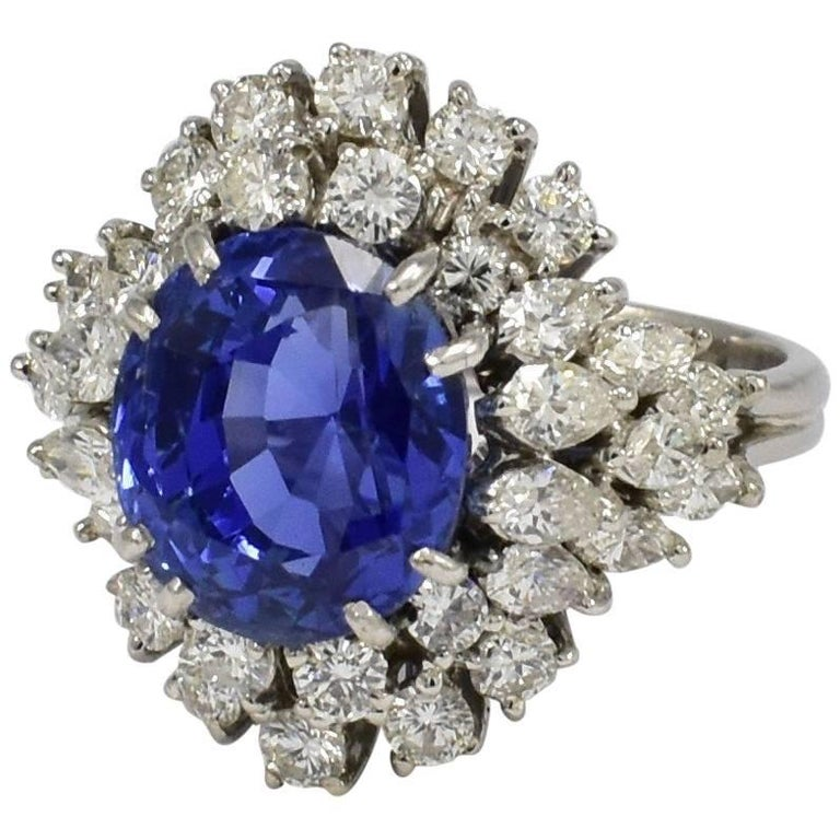 Daou Oval Blue Sapphire 9.4ct Diamonds White Gold Engagement Cocktail Dress Ring